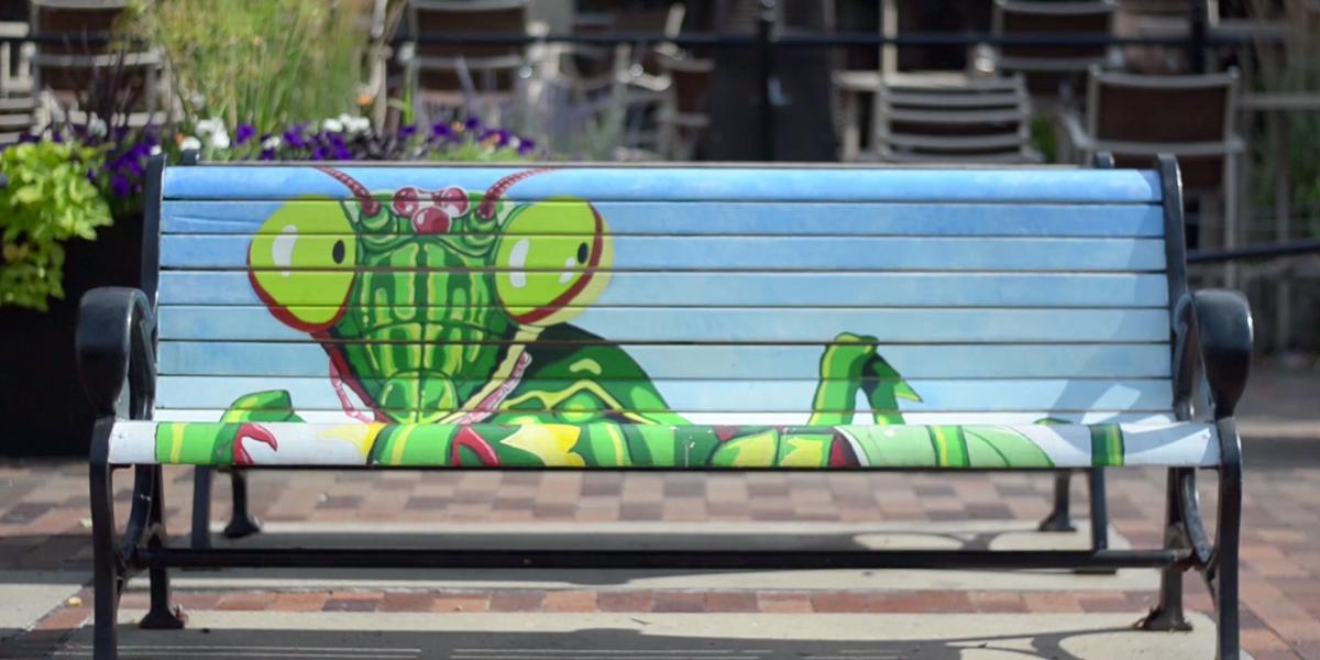 Grasshopper bench - Downtown Iowa City - Lepic-Kroeger, REALTORS®